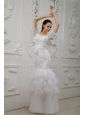 Lace With Beading Sash V-neck Mermaid Floor-length Taffeta and Tulle 2013 Wedding Dress