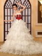 Luxurious Beading A-Line Strapless Organza Cathedral Train Wedding Dress