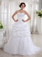 A-line Sweetheart Wedding Dress Taffeta Court Train Appliques and Ruch