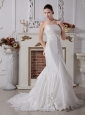 Mermaid Strapless Neckline Wedding Dress With Brush Train Satin and Taffeta