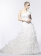 One Shoulder Wedding Dress Organza Ruffles A-Line / Princess Court Train Zipper-up
