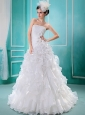 Popular A-line Hand Made Flowers A-line 2013 Wedding Dress With Strapless Organza