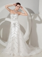 Sequins Decorate Bodice Sweetheart Neckline Organza Court Train Exclusive Wedding Dress For 2013