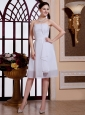 Strapless Chiffon Knee-length Ruch Backless Simple Customize Wedding Gowns