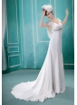 V-neck Neckline Sequins and Rhinestones Decorate Wedding Dress With Short Sleeves