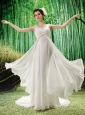 White Chiffon V-neck Brush Train V-neck Wedding  Dress