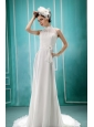White High-neck In Salem For 2013 Wedding Dress With Sash and Hand Made Flowers