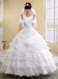 White High-neck Long Sleeves Ball Gown Organza Wedding Dress With Imitated Feather and Lace Decorate
