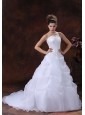 A-line Custom Made Organza For Wedding Dress With Appliques Strapless