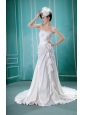 A-line Sweetheart Hand Made Flower Wedding Dress With Ruch
