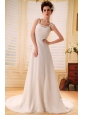 Beaded Decorate Shoulder Square Court Train Custom Made Chiffon tiered skirt Wedding Gowns