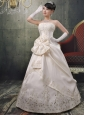 Champagne A-line Applqiues Decorate Strapless Wedding Dress With Bows Satin In 2013