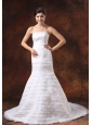 Embroidery Decorate Bodice Mermaid Brush Train Organza Ruffled Layers 2013 Wedding Dress
