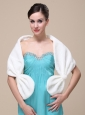 Faux Fur Special Occasion / Wedding Shawl In Ivory With V-neck
