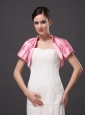 High-neck Satin Rose Pink Short Sleeves Jacket For Other Formal Occasions With Ruch Decorate