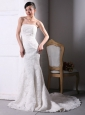 Lace Mermaid / Trumpet Sexy Beach / Destination Court Train Wedding Dress