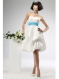 Lace Sashes / Ribbons Empire Taffeta Strapless Knee-length Beach / Destination Wedding Dress