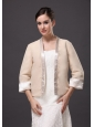 Satin Champagne 3/4  Sleeves Jacket For Other Formal Occasions With Beading Decorate