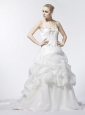 Spaghetti Strap A-Line / Princess Beading Organza Popular 2013 Wedding Dress