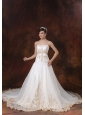 Stylish Embroidery Straps Organza and Taffeta 2013 Wedding Dress Chapel Train