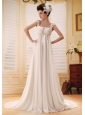 Stylish Empire Straps 2013 Wedding Dress With Appliques and Ruch In Wedding Party