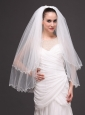 Two-tier Tulle White Ribbon Edge For Bridal Veils