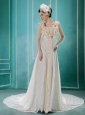 White Flowers Decorate Wedding Dress With Lace Sequare Neckline