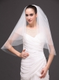 White Tulle Wedding Veil With Two-tier