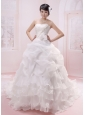 Wholesale Ruffled Layeres Bow Applqiues Decorate Wededing Gowns With Pick-ups
