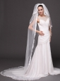 Three Layers and Taffeta Ribbon Edge Bridal Veils For Wedding