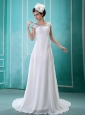 Beaded And Sequins Decorate Shoulder Square Chiffon Short Sleeves Celebrity Wedding Dress For Custom Made