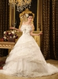 Beading and Bowknot and Lace Strapless Court Train Organza Wedding Dress