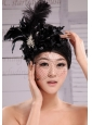 Black Best Sale Hat Flower Wedding Headpieces With Feather Beading
