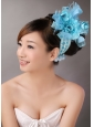 Blue Feather Chiffon Net Flower For Party