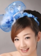 Blue Net and Feather With Beading Flower For Bridal