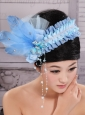 Classical Rhinestones and Feather Decorate On Tulle Baby Blue Headpieces For Party