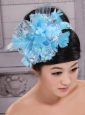 Classical Sky Blue Headpieces With Rhinestones and Feather Decorate On Tulle For Party