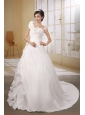 Flowers Decorate Shoulder Princess Organza and Chiffon White Wedding Dress