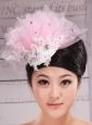 Fully Handmade Beaded and Appliques Decorate Baby Pink Headpieces