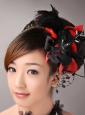 Fully Handmade Romantic Headpiece Red and Black With Feather For Party