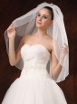 Graceful One-tier Beautiful Organza With Pearl Bridal Veils