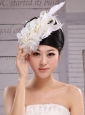 Hair Accessories For Brides Bud Silk Yarn Feather With Pearls and Beading Embellishment