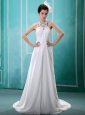 Halter Top Beaded Chiffon White 2013 New Arrival Wedding Dress For Hottest Customize