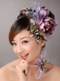 Imitation Pearls Flowers Decorate On Tulle Multi-color Headpieces