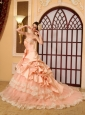 Lace Beading A-Line / Princess Sweetheart Organza Cathedral Train Wedding Dress