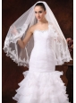 Tulle With Lace Appliques Edge Graceful Bridal Veils For Wedding
