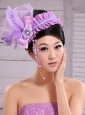 Lavender Headpiece For Party Pearl Feathers