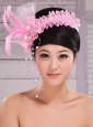 Lovely Rose Pink Imitation Pearls and Feather Decorate Tulle Headpieces For Cocktail