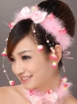 Lovely Pink Bowknot Feather Wedding Fascinators
