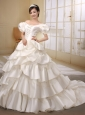 Off The Shoulder Ivory Satin Princess Wedding Dress With Short Sleeves